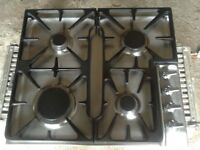 Candy stainless steel gas hob. Four burners. Surplus following kitchen upgrade