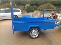 """New 7ft x 4ft 4"""" Car Trailer all steel with long mesh back ramp door"""