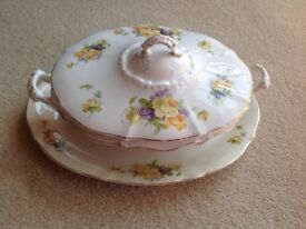 Vintage White Oval Floral Tureen with Handles and Oval Plate