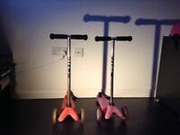 2 x Micro mini Scooters in pink
