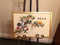 Embroidery on silk framed picture. Oriental birds..