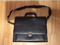 Black leather briefcase by Italian HM Way manufacturer