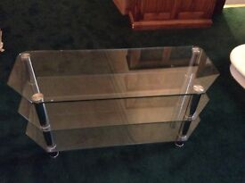 Heavy duty Tv/coffee tables individually price clear/black both with chrome legs
