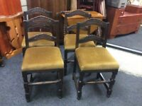 Set of 4 gothic style vintage chairs