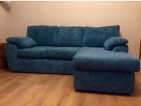 Teal Blue L-Shaped Corner Couch Sofa - MUST GO