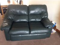 Leather 3 piece suite and large matching footstool