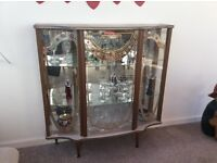 Vintage 1930's glass display cabinet, with glass shelves and mirror backing, excellent condition