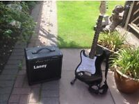 Stagg left handed electric guitar and Lane amp