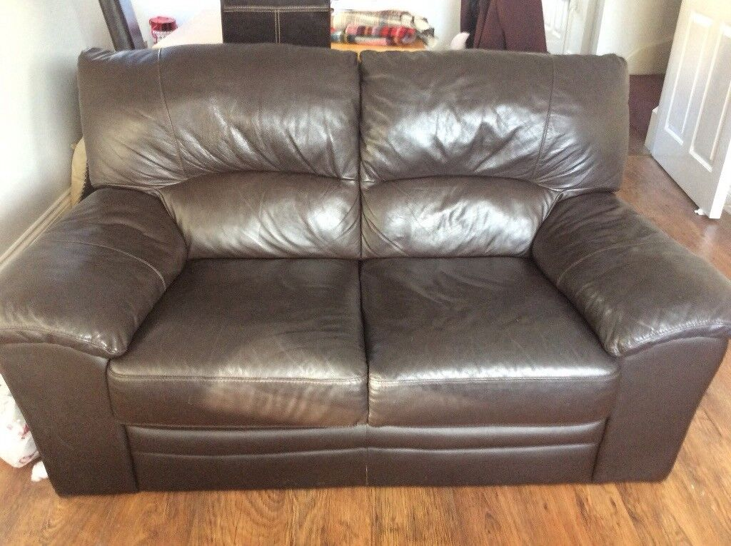 Brown leather 2 seater and 3 seater Sofas | in Yeovil, Somerset ...