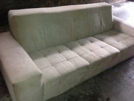 3 seater neutral colour suedette sofa