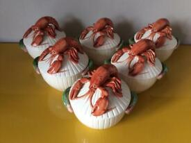 """Fitz and Floyd ceramic lobster lidded soup bowls. USA """"fish market ware collection"""""""