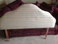 Double bed Headboard retro Style - newly upholstered in natural colour pure new wool fabric
