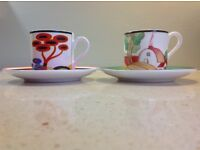 """TWO LIMITED EDITION CLARICE CLIFF """"CAFE CHIC"""" COLLECTION COFFEE CUPS & SAUCERS"""