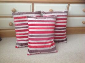 3 x Red striped cushions