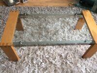 modern glass, chrome and oak coffee table