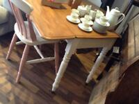 Shabby chic dining table,fold up/drop leaf
