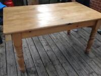 Farmhouse pine dining table.
