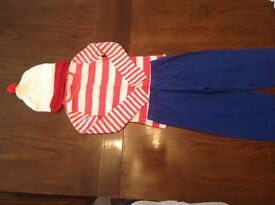 Where's Wally Outfit Fancy Dress Approx Age 6 World Book Day