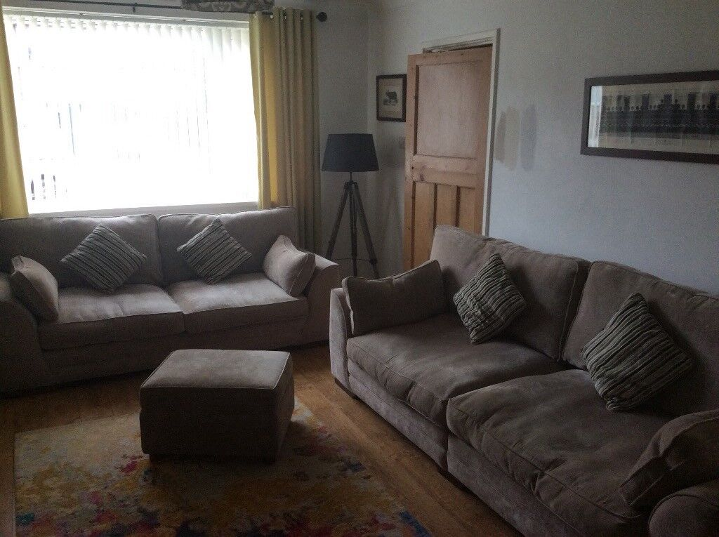 SCS 4 Seater, 3 Seater and matching storage Footstool