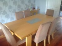 Maple wood dining table and 6 chairs in beige velour cloth, Option to buy matching console table.
