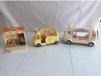 Various Sylvanian items, Sainsburys shop, nursery bus and ice cream van