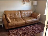 £150 ono Tan leather 3 seater sofa (bought March 2015)