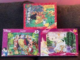 3 used Disney jigsaw puzzles, 2 x 100 pieces, 1 x 70 pieces