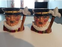 A two piece, hand made hand Thorley Beefeater Toby jug set made out of bone china, m