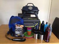 Camping BBQ and Coleman food hamper and KARRIMOR rucksack