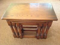Old Charm furniture company , nest if 3 solid oak tables, in immaculate condition