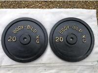 2 x 20kg Bodybild Standard Cast Iron Weights