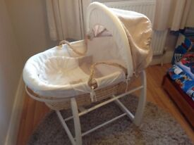 Mamas and Papas Moses Basket and Carry Cot Stand including a Clevafoam Mattress
