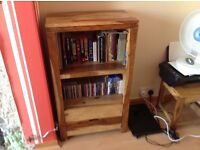 Wooden TV stand book case and nest of coffee tables all in good condition