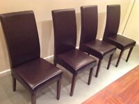 4 Villa & Hut Leather Dining Chairs 2 excellent 2 reasonable but slightly distressed