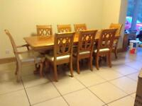 Extending table and eight chairs