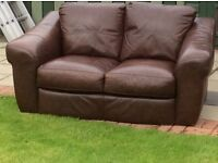 Lovely brown leather 3 +2 sofas. Excellent condition