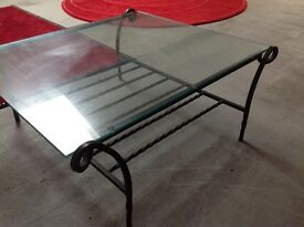 COFFEE TABLE, Glass and wrought iron.