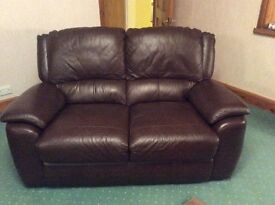 Chocolate Brown Leather 3 + 2 seater's