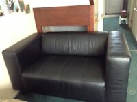 Compact 2 Seater Leather Effect Sofa - Black