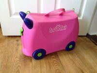 Trunki suitcase for child - bright pink with purple ears and securing straps and inner storage