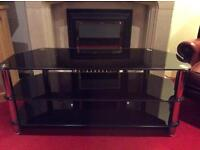 Large Black and Crome TV Stand