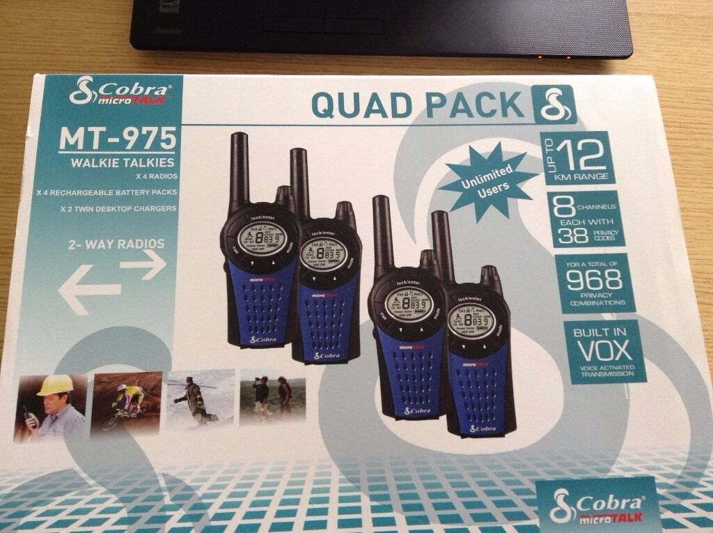 Cobra MT975 PMR Quad Pack (New) Quad pack of Cobra MT975 two way radiosin Arnold, NottinghamshireGumtree - Cobra MT975 PMR Quad Pack • Quad pack of Cobra MT975 two way radios • Keep in touch in the great outdoors • Get in contact up to 12km away • 968 privacy combinations – 8 channels with 121 privacy codes per channel • Battery powered radios...