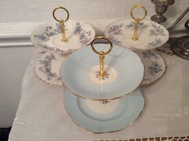 3 Mini Pale Blue/Pink Cake Stands