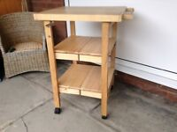 Folding kitchen trolley with butchers block top. SOLD, subject to collection.