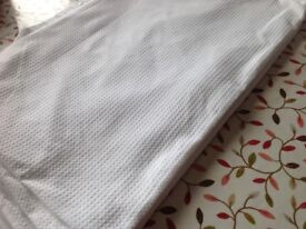 Cot bed duvet, white cover, fitted pink cotton sheet