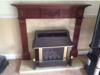Polished wood & marble fire surround