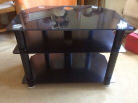 Elegant TV stand with three glass levels
