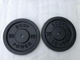 2 x 25kg Bodypower Standard Cast Iron Weights