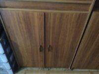 Cupboards and shelf. Teak effect. Good condition. Can be sold separately