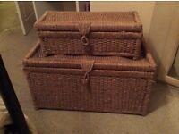Whicker basket chest storage set